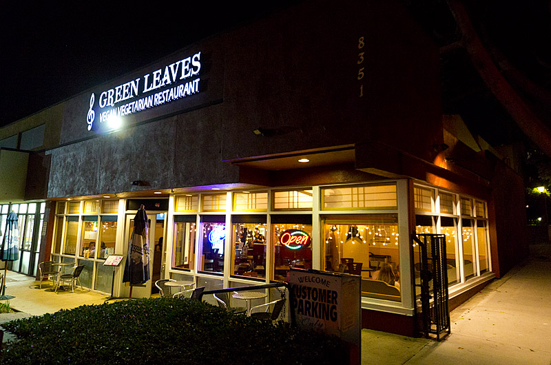 Green Leaves Vegan Vegetarian Restaurant on Santa Monica Blvd in West Hollywood, California