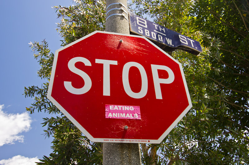 "A stop sign with a sticker attached below the word stop, it reads, ""Eating Animals"""