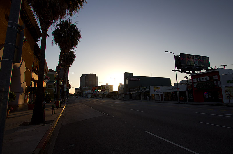 The sun is still low on the horizon this early holiday Monday morning on Wilshire Blvd. The streets are empty.