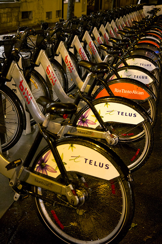 Bikes for rent on the streets of Montreal from Bixi - available 24 hours a day.