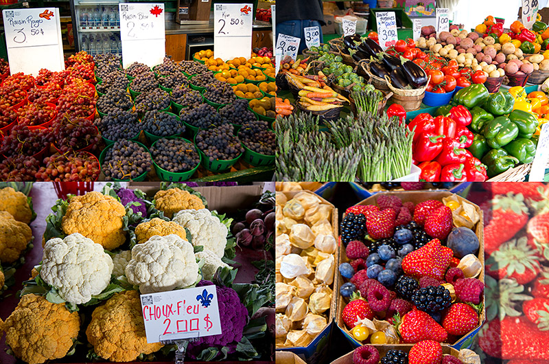 Photos of some of the variety of fruits and vegetables available during fall at the Jean-Talon Market in Montreal, Canada