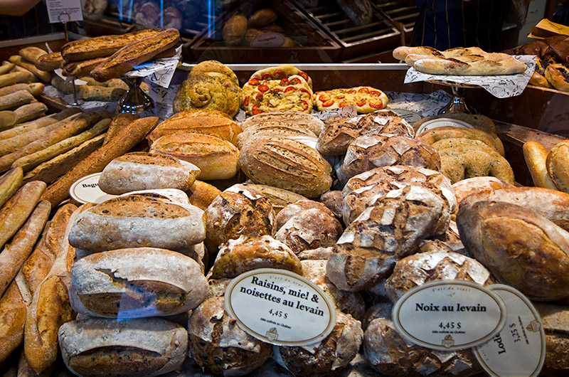 Fresh bread from a bakery at Jean-Talon Market in Montreal, Canada