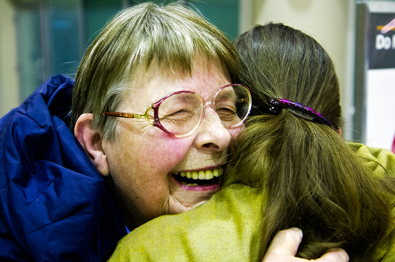 Jutta Engelhardt hugging her daughter Caroline Wise at the Phoenix Airport after nearly 2 years
