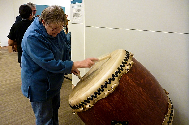 Jutta Engelhardt playing the drum at The Musical Instrument Museum in Phoenix, Arizona