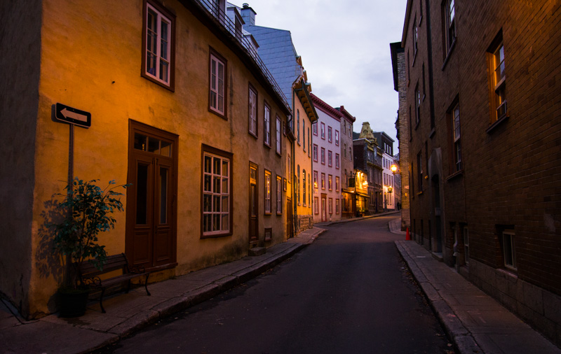 Walking the streets of Quebec City at dusk