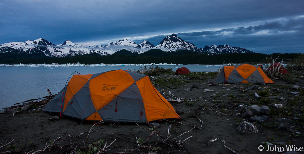 Our campsite on Alsek Lake in Alaska