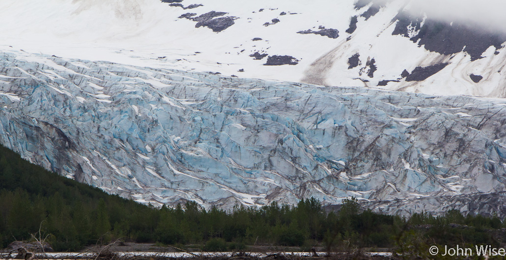Our first sighting of Walker Glacier on the Alsek River in the state of Alaska