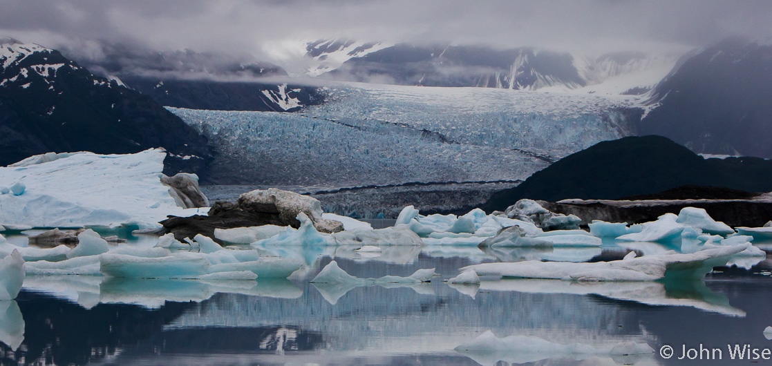 One of the glaciers entering Alsek Lake in Alaska