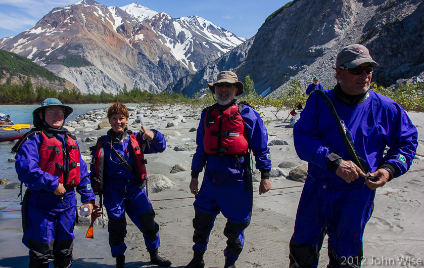 Caroline R., Carol and Harris, and Bruce Keller in dry suits after running Lava North in Kluane National Park Yukon, Canada