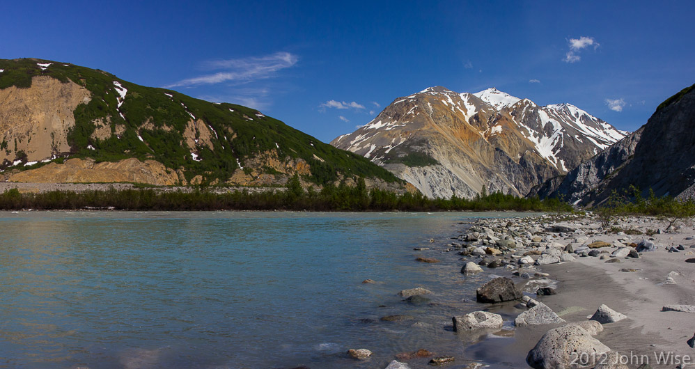 At the confluence of a side tributary and the Alsek River in Kluane National Park Yukon, Canada