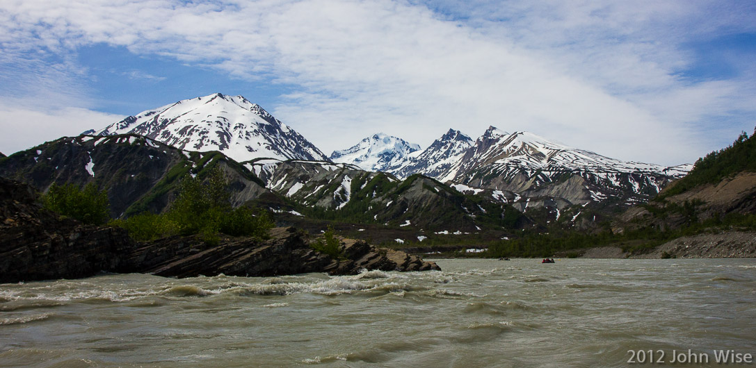 Exiting the S-Curve rapids and leaving the Yukon in Canada on the Alsek River