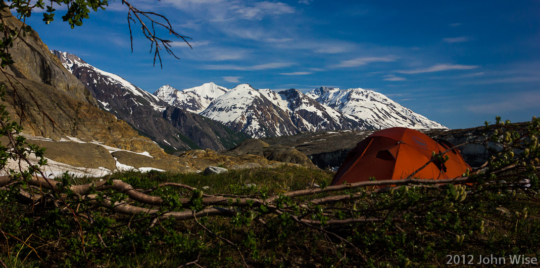 Camp at the northern end of the Tweedsmuir Glacier in Tatsheshini-Alsek Provincial Park in British Columbia, Canada