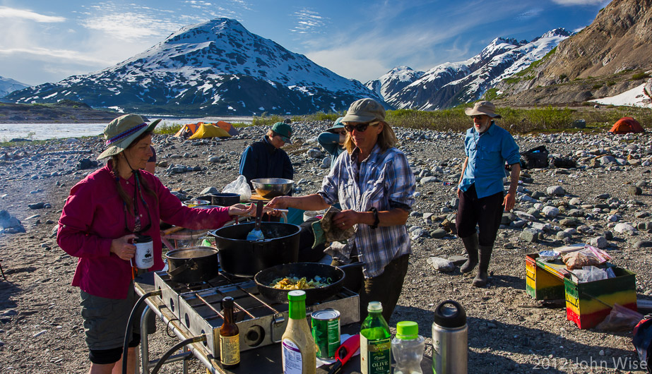 A typical kitchen on an extended river trip. Tatshenshini-Alsek Provincial Park British Columbia, Canada