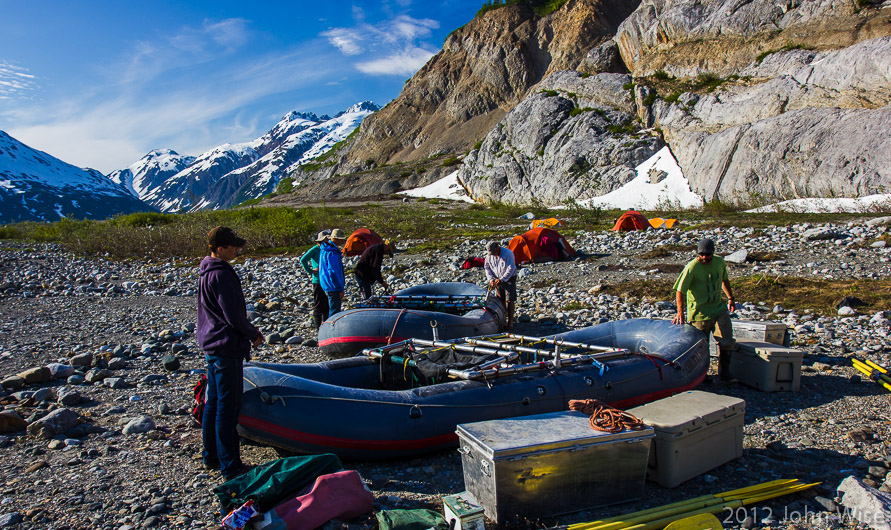 Rafts on shore before deflating them as we get ready for a helicopter portage over Turnback Canyon and the Tweedsmuir Glacier in Tatshenshini-Alsek Provincial Park British Columbia, Canada