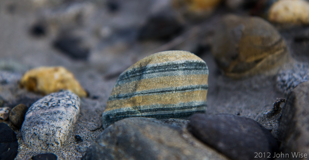 A striped rock found at Sam & Bills campground in Kluane National Park Yukon, Canada