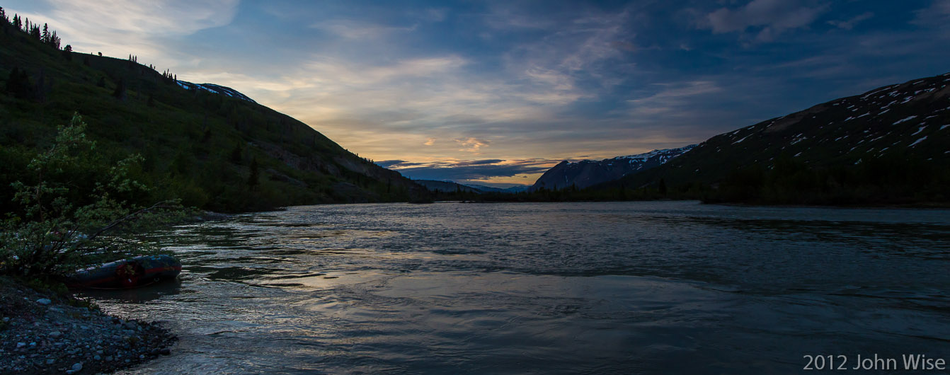 Sunset view looking back upstream on the Alsek River in Kluane National Park Yukon, Canada