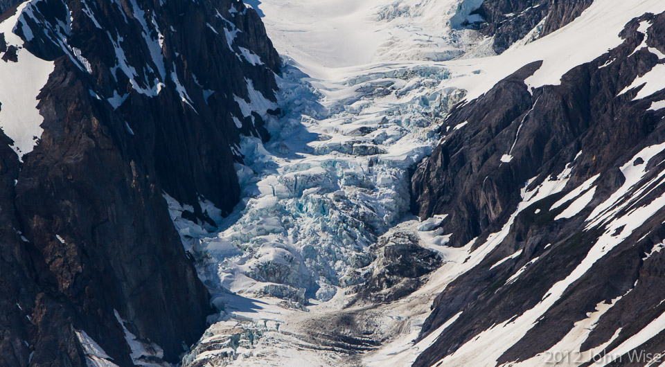 A hanging glacier on the face of Mt. Blackadar in Tatsheshini-Alsek Provincial Park in British Columbia, Canada
