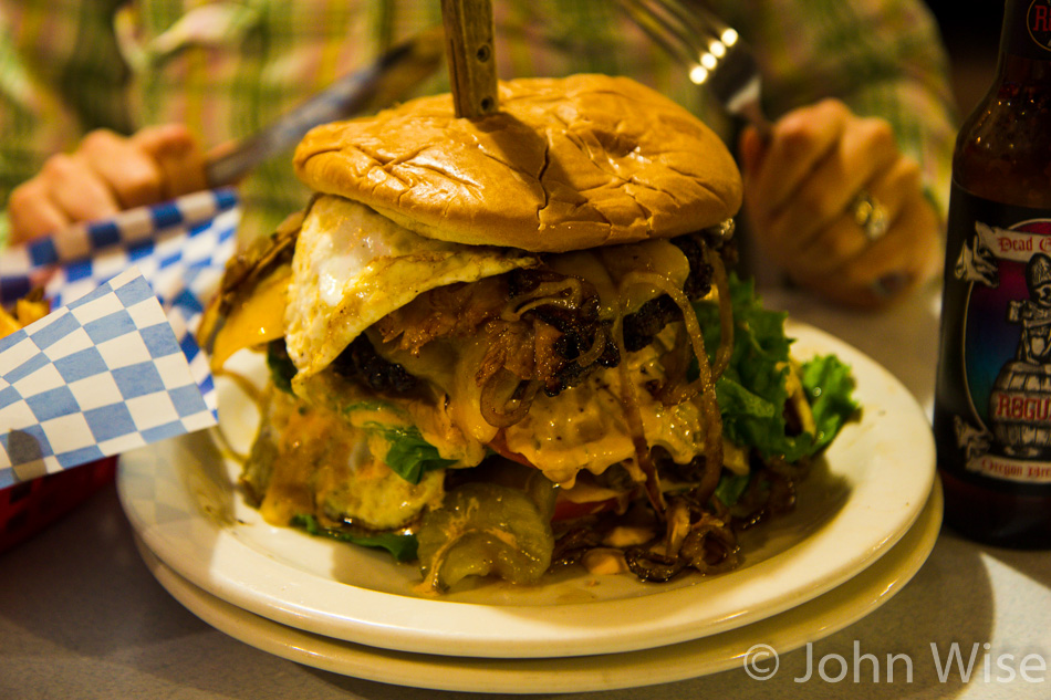 The Ultimate Monster Burger from the Newport Cafe in Newport, Oregon