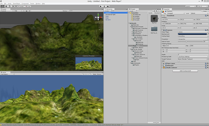 Unity 3D game creation software displaying the terrain from Blender