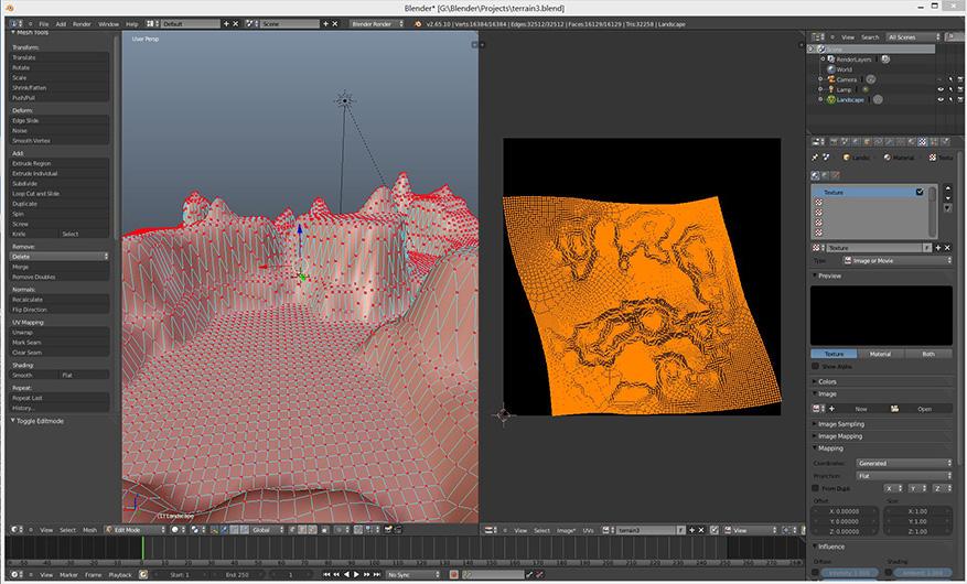 Blender 3D modeling software showing a terrain