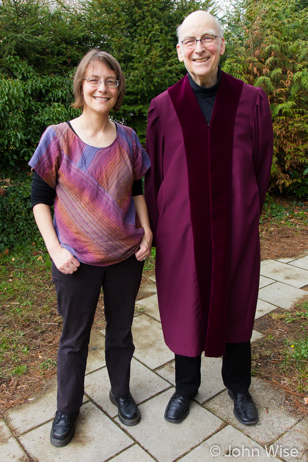 Caroline Wise and Hanns Engelhardt, in the robe he wore as a Supreme Court Judge