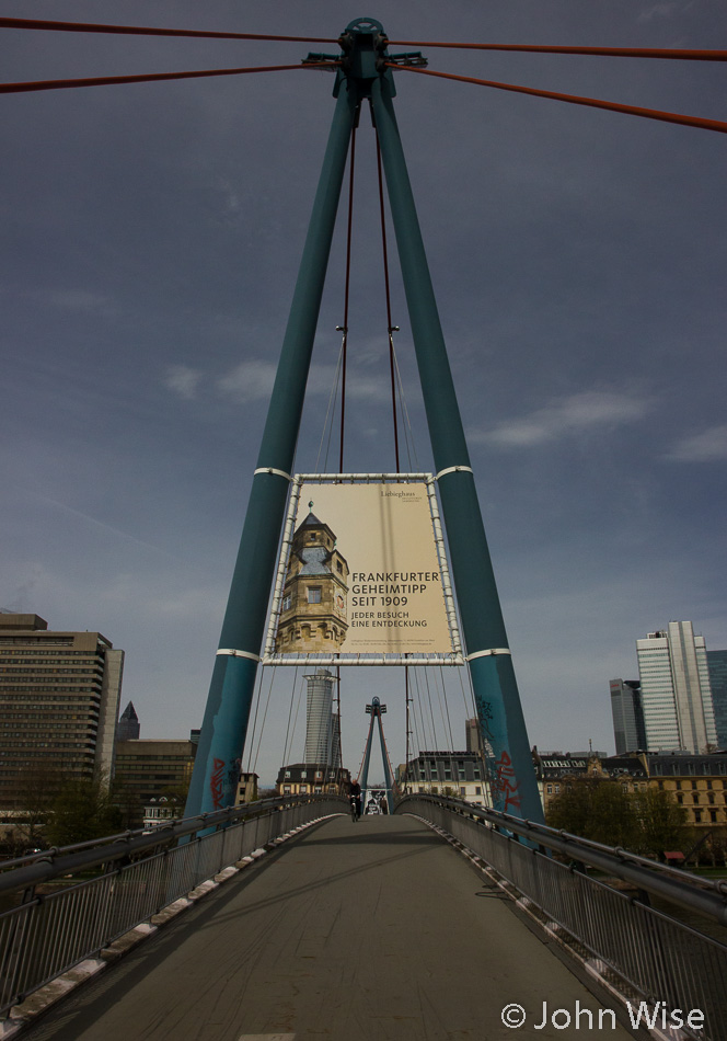 The new foot bridge across the Main River in Frankfurt, Germany