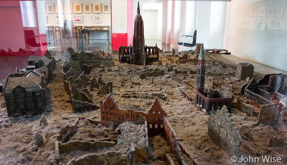 A model at the Frankfurt Historical Museum depicting Frankfurt following its destruction during World War II