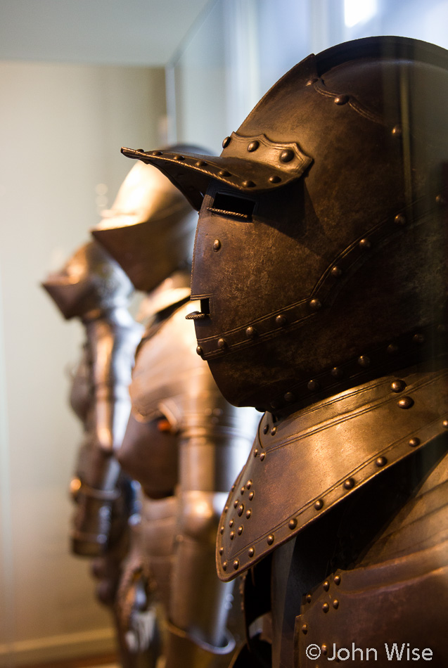 A row of knights armor on display at the Frankfurt Historical Museum