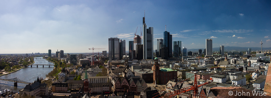 View from on top of the Dom tower in Frankfurt, Germany