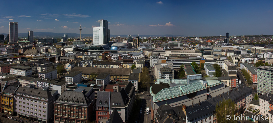 Looking north from atop Frankfurt Dom in Germany