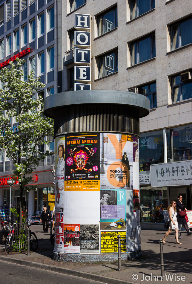 Litfaßsäule (Litfass Column used for advertising) in Frankfurt, Germany