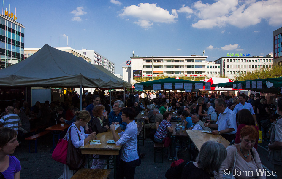 Wine fest and open-air market at Konstablerwache in Frankfurt, Germany