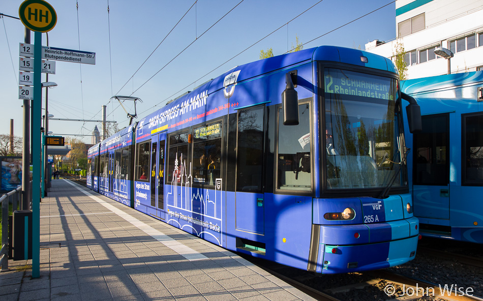 Streetcar number 12 passing by the blood donor service in Frankfurt, Germany