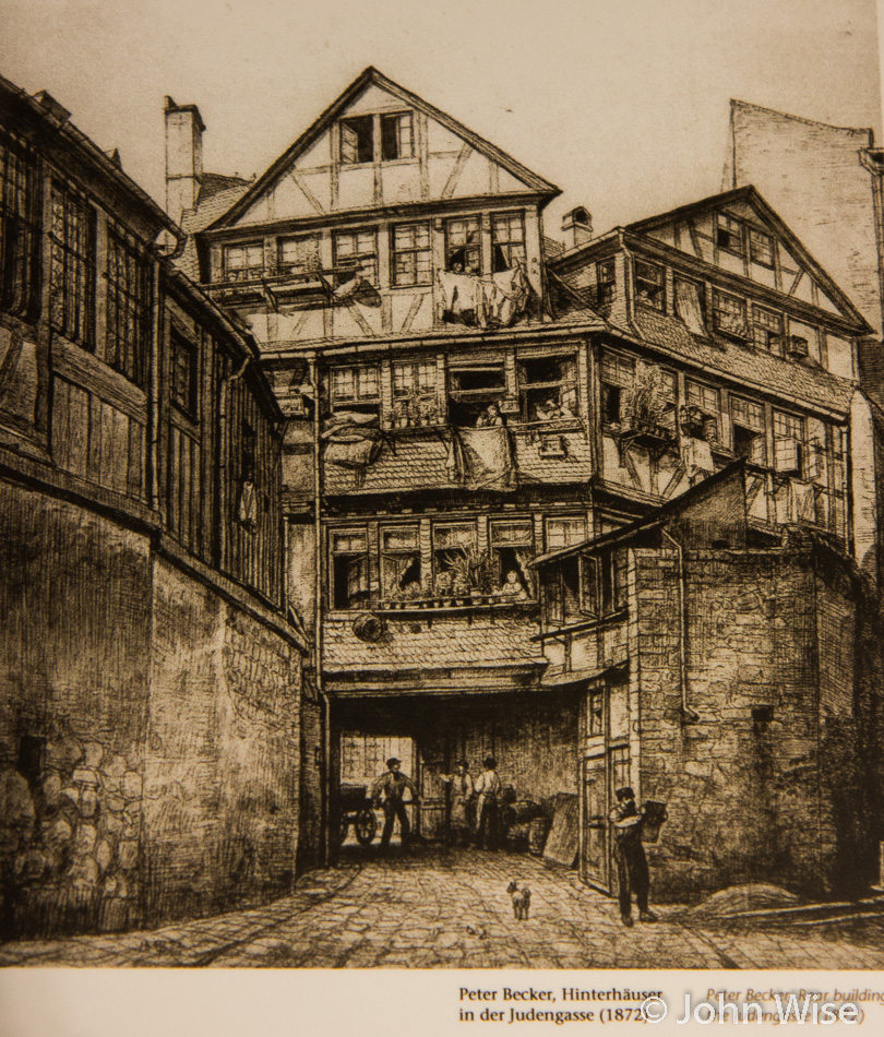 Sketch of the old Jewish ghetto in Frankfurt, Germany