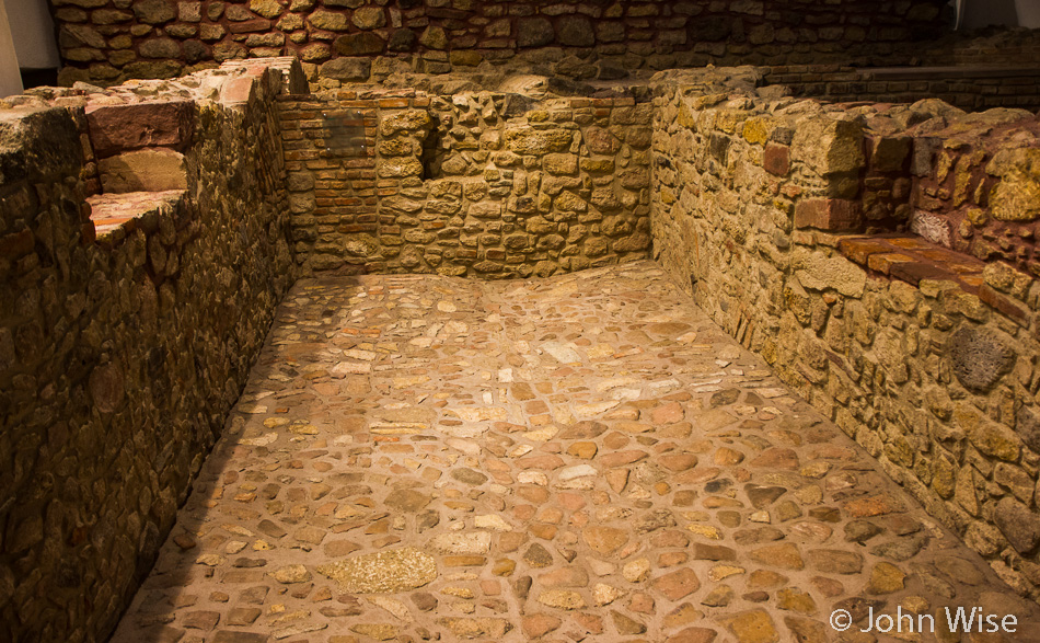 Basement and foundation walls uncovered in the old Jewish quarter in Frankfurt, Germany
