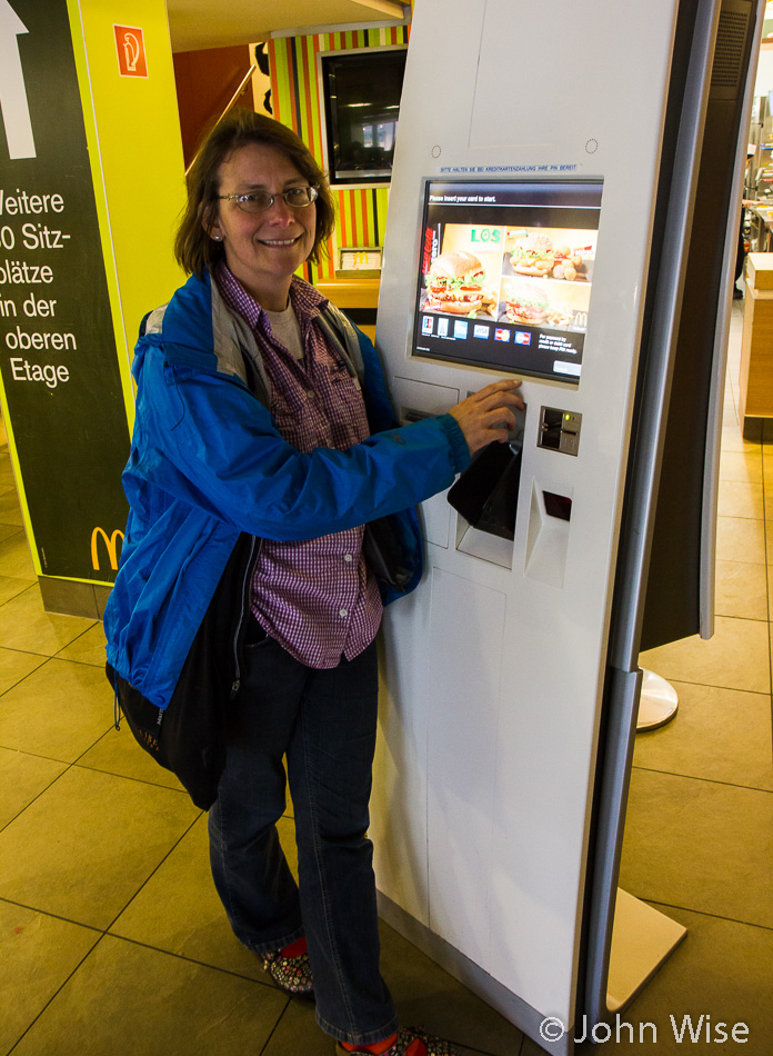Caroline Wise at McDonalds at an automated ordering station in Frankfurt, Germany