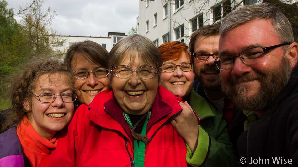 Katharina Engelhardt, Caroline Wise, Jutta Engelhardt, Stephanie and Klaus Engelhardt, and John Wise in Frankfurt, Germany