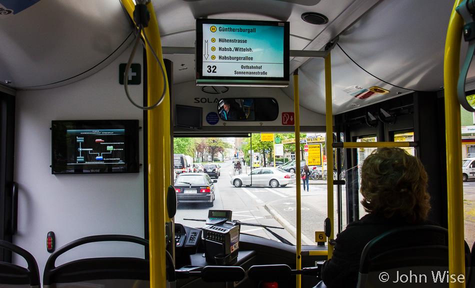 A hybrid bus in Frankfurt, Germany