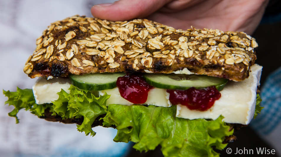 A brie, lingonberry, cucumber sandwich on a full grain heavy dark roll from Kamp Bakery in Frankfurt, Germany