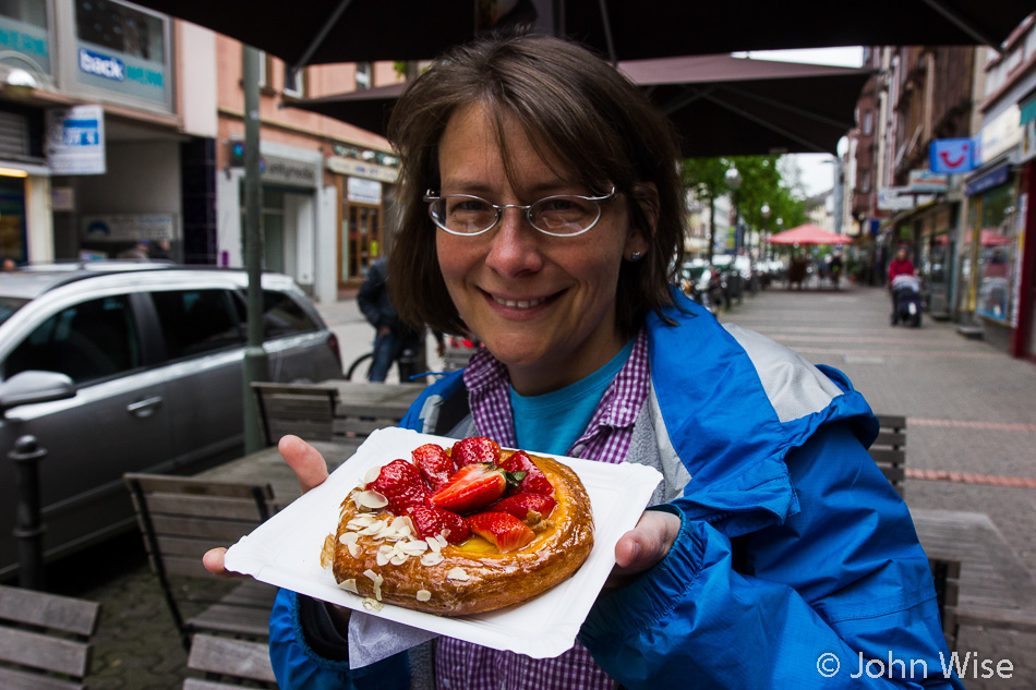 An Erdbeer Plunder (strawberry danish) from Kamp Bakery in Frankfurt, Germany