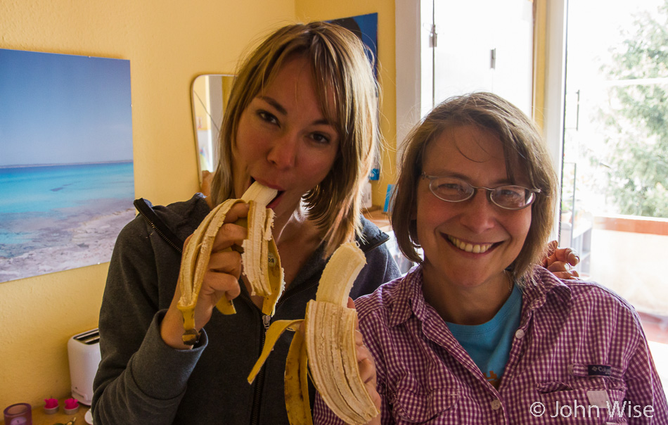 Angela Pyka and Caroline Wise reminiscing about bananas in Frankfurt, Germany