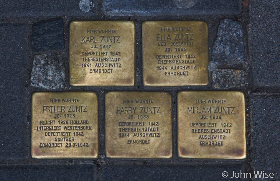 Stolpersteine (stumbling stones) that are supposed to make you stop, read, and think about what is marked on them. In Frankfurt, Germany