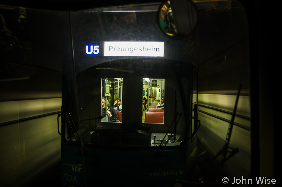 The U5 subway train in Frankfurt, Germany