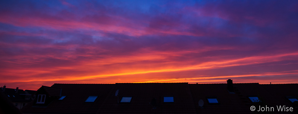 A rare sunset in Frankfurt, Germany
