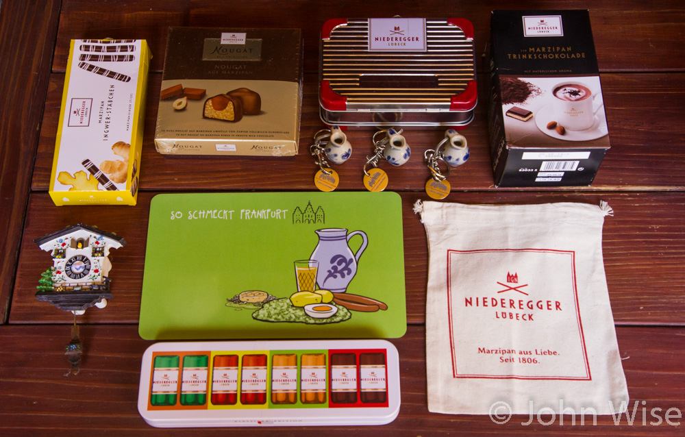 Marzipan and various souvenirs from Germany