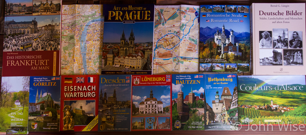 Various books about some of the old cities we visited in Germany and Czechoslovakia.