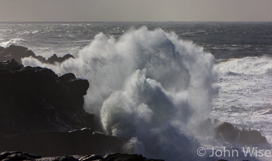 Waves explode against the coast as storm ravaged seas churn on the Oregon coast