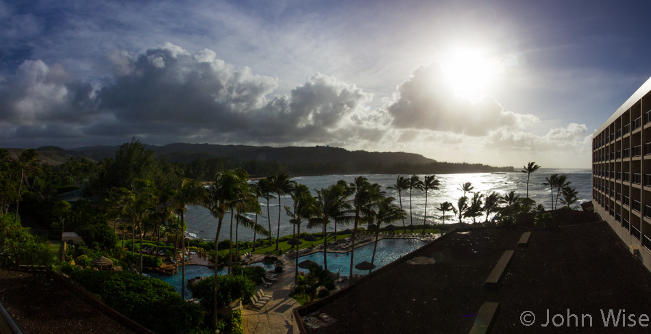 The view from our room at Turtle Bay Resort on the North Shore of Oahu, Hawaii