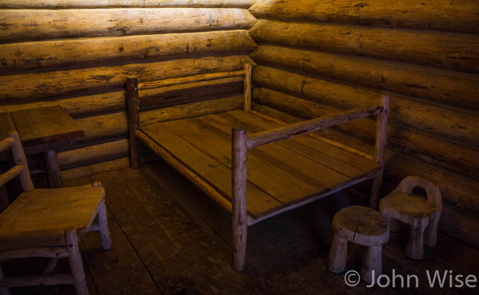 Inside the replica of Fort Clatsop in Oregon
