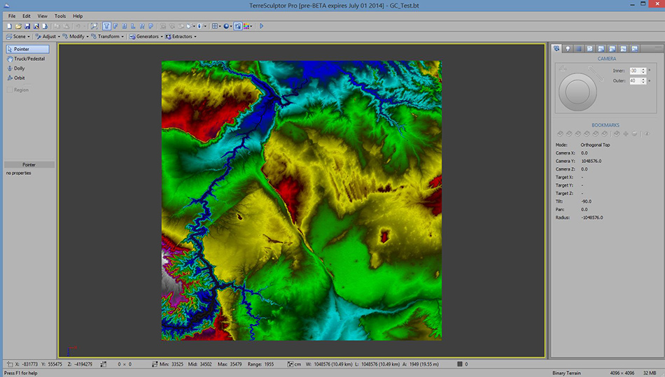 A TerreSculpt screen capture after importing height map data